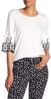 Adrianna Papell Embroidered Bell Sleeve Blouse