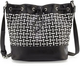French Connection Nadia Faux-Leather Woven Drawstring Bucket Bag, Black/White