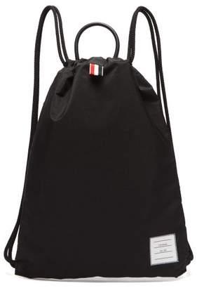 Thom Browne Logo Patch Drawcord Backpack - Mens - Black