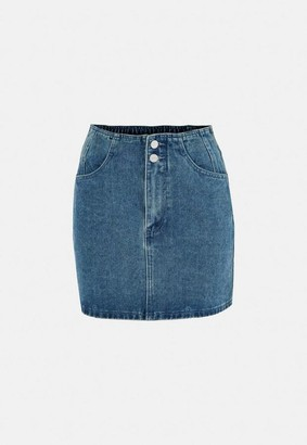 Missguided Blue Double Button Denim Mini Skirt