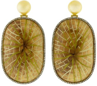 Silvia Furmanovich 18kt yellow gold diamond Marquetry Water Lily earrings