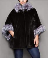 The Fur Vault Plus Size Fox-Trim Ribbed Mink Fur Cape