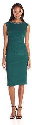 JS Boutique Women's Sleeveless Beaded Neck Cocktail Dress W/Draping Detail