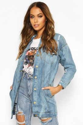 boohoo Oversized Distressed Denim Jacket