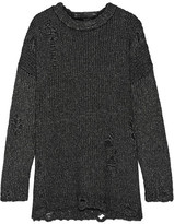 R 13 Distressed Mélange Knitted Sweater - Charcoal