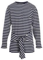Jw Anderson Tie-waist Striped Cotton T-shirt