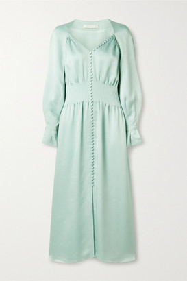Jonathan Simkhai Seraphina Hammered-satin Midi Dress - Light blue