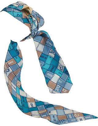 One Kings Lane Vintage Hermes Blue Ribbons Silk Twilly Scarf - Vintage Lux