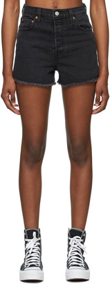 Levi's Black Denim Ribcage Shorts