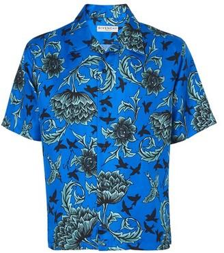 Givenchy Floral print silk short sleeve shirt