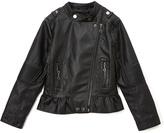 Urban Republic Black Ruffle Quilt-Accent Moto Jacket - Toddler