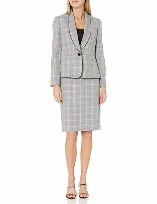 LeSuit Womens 3 Button Notch Collar Plaid Tweed Trumpet Skirt Suit Suit-Skirt Set
