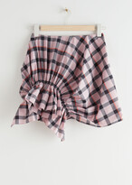 Thumbnail for your product : And other stories Gathered Asymmetric Check Mini Skirt
