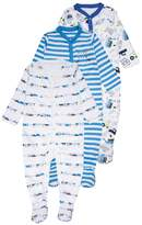 Mothercare BOYS CREW SLEEPSUIT BABY 3 PACK Pyjamas blue
