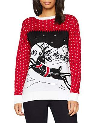 British Christmas Jumpers Women's Festive Christmas Jumper Red, (Size: L)