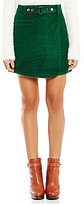 Gianni Bini Wren Belted Faux-Wrap Solid Wool Skirt