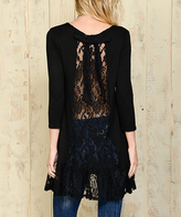 Celeste Black Lace-Panel Ruffle-Hem Tunic