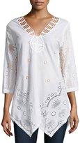 XCVI Lily Eyelet 3/4-Sleeve Tunic, White