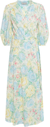 Paul & Joe Gathered Floral-print Cotton-jacquard Midi Wrap Dress