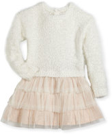 Billieblush Drop-Waist Sweater Tulle Dress, Size 12-18 Months