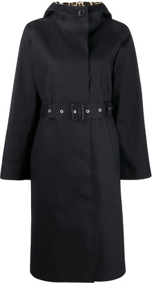 MACKINTOSH INVERURIE Black x Leopard Oversized Single Breasted Trench Coat | LR-1004