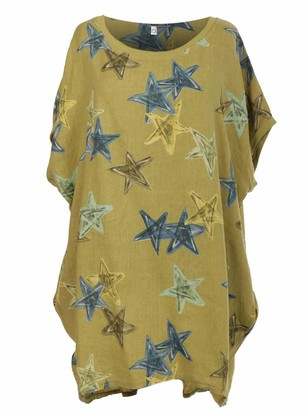 Storm Island Ladies Italian Linen Spotty Baggy Tunic Top Classic Handkerchief Hemline Dress (Mustard One Size 16-26 UK)
