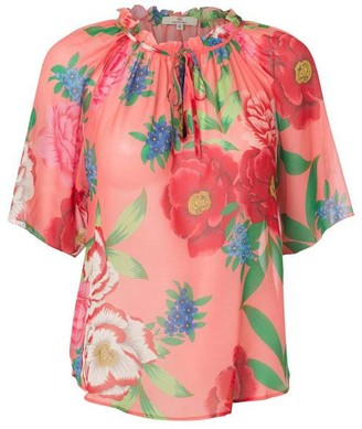 Charlotte Sparre Wrinkle Blouse Silk Georgette Pink Or Yellow - XS / Popi Pink
