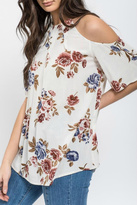 Blu Pepper Floral Cold Shoulder Top