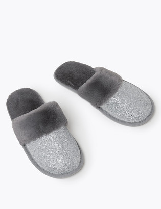 Marks and Spencer Faux Fur Lined Glitter Mule Slippers