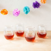Cathy's Concepts CATHYS CONCEPTS Sugar Skull Set Of 4 Stemless Wine Glasses