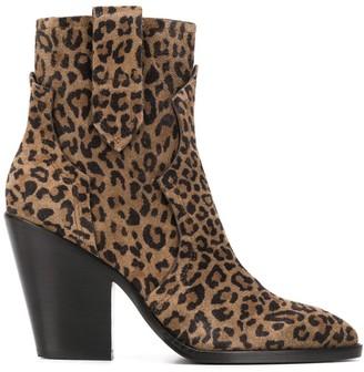 Ash leopard pattern ankle boots