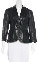 Just Cavalli Leather Notch-Lapel Jacket
