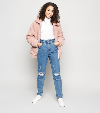 New Look Girls Elastic High Waist Ripped Jeans