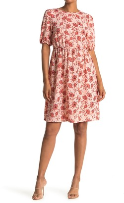 Halogen Blouson Sleeve Floral Print Dress