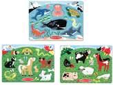Melissa & Doug Farm Animals, Pet &amp Sea Creature Peg Puzzle Set