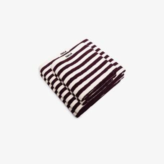 Tekla Purple And White Organic Cotton Towel Set