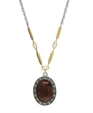 T.r.u. by 1928 Silver Tone Genuine Brown Obsidian Oval Necklace