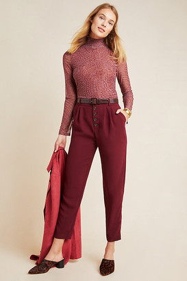 Anthropologie Sasha Button-Fly Tapered Trousers By in Black Size 4
