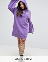 Asos Hoody Dress With Bell Sleeves And Spliced Print