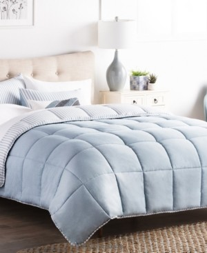 Brookside Striped Reversible Chambray Comforter Set, Queen Bedding