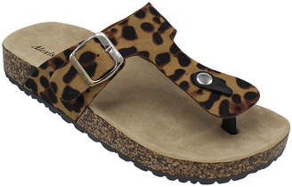 Alexis Bendel Women's Sandals LEOPARD - Brown Leopard Buckle T-Strap Kylie Sandal - Women