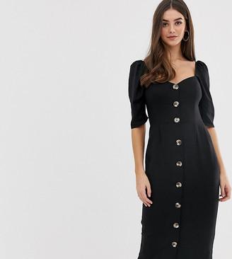 Asos Tall DESIGN Tall linen button through midi dress with sweetheart neckline-Black
