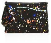 Loeffler Randall Soft Splatter Paint Leather Tassel Pouch
