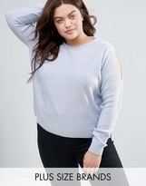 Brave Soul Plus Sweater With Cold Shoulder