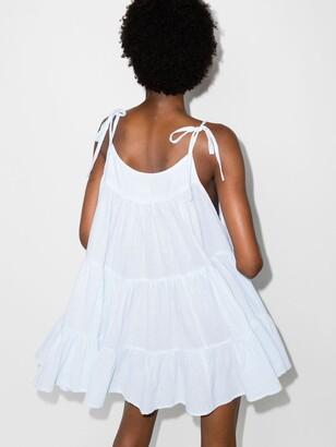 HONORINE Blue Peri Tiered Cotton Mini Dress