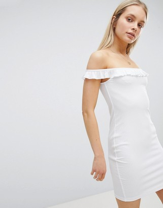 Bardot Asos Design ASOS DESIGN Frill Mini Rib Dress-White