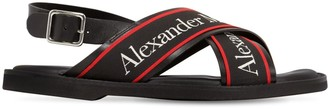 Alexander McQueen Leather Sandals W/macro Logo Straps