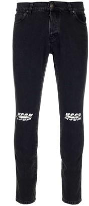 MSGM Logo Ripped Denim Jeans