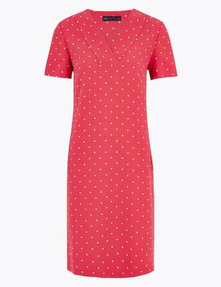 Marks and Spencer Polka Dot V-Neck Knee Length Shift Dress
