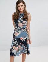 Oasis Longline Floral Print Belted Skater Dress